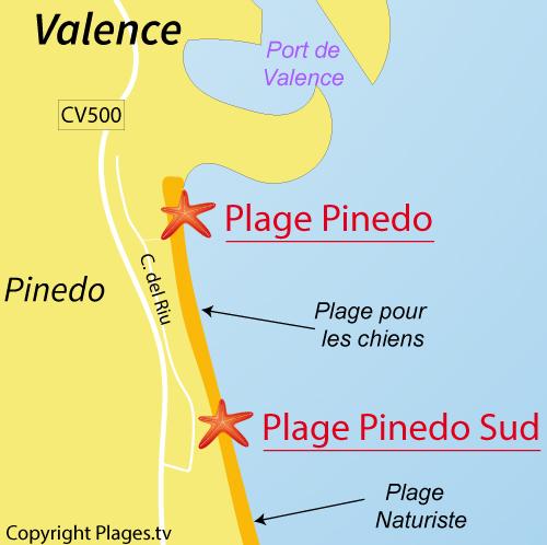 Carte de la plage au sud de Pinedo - Valence
