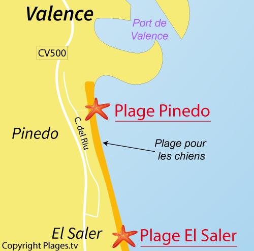 Carte de la plage de Pinedo à Valence
