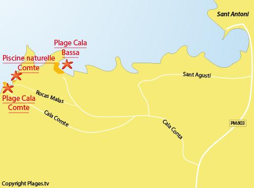 Carte de la plage de la piscine naturelle de Comte à Ibiza