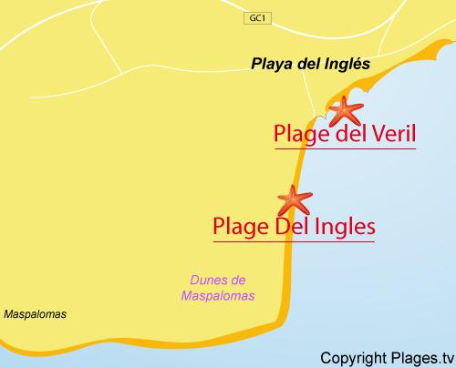 Carte de la plage de Playa del Ingles à Grande Canarie