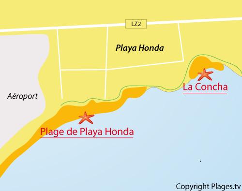 Carte de la plage de Playa Honda à Lanzarote