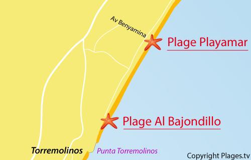 Carte de la plage de Playamar à Torremolinos