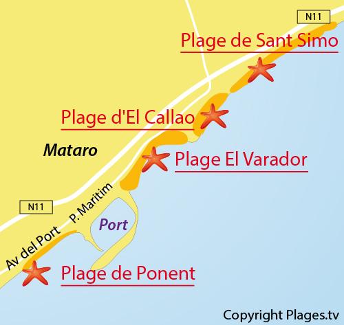 Map of Ponent Beach in Mataro