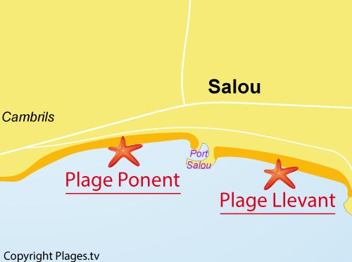 Carte de la plage du Ponent à Salou