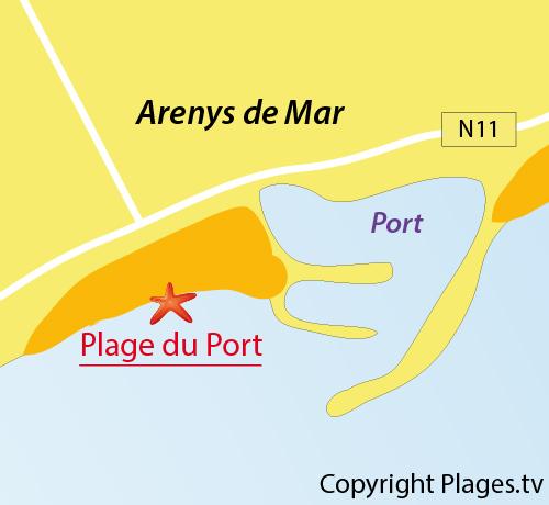 Carte de la plage du Port d'Arenys de Mar