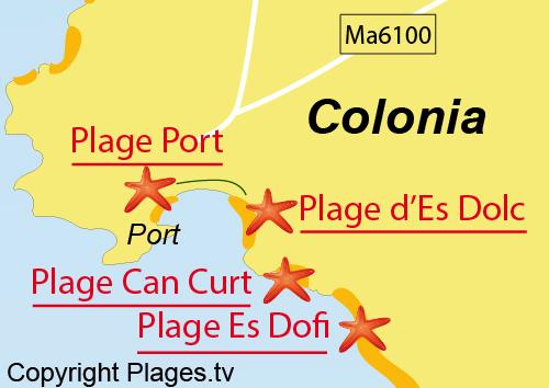 Carte de la plage du Port à Colonia de Sant Jordi