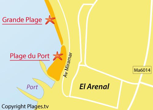 Carte de la plage du Port à Arenal - Majorque
