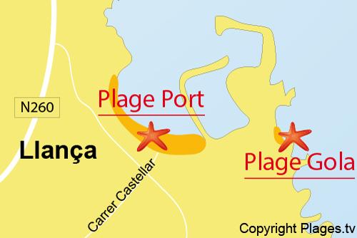 Carte de la plage de Port de Llança en Espagne