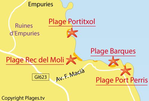 Carte de la plage de Port d'en Perris à l'Escala