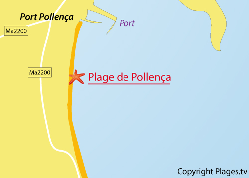 Carte de la plage de Port Pollença à Majorque - Baléares
