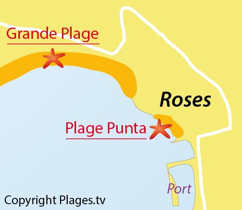 Carte de la plage du Port de Roses