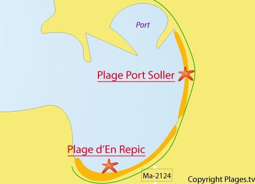 Carte de la plage de Port Soller à Majorque