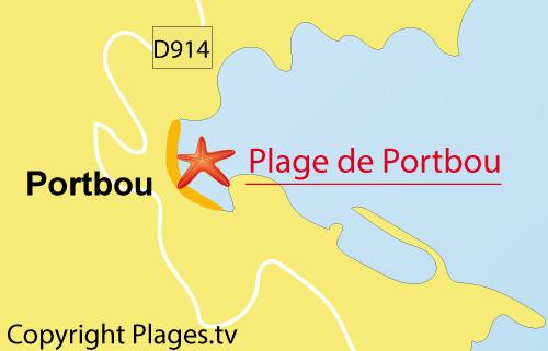 carte de la plage de Portbou en Espagne