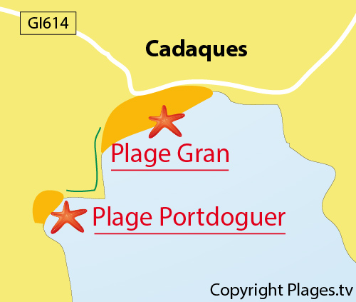 Map of Portdoguer Beach in Cadaques