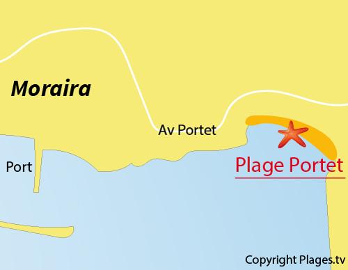 Carte de la plage du Portet - Moraira