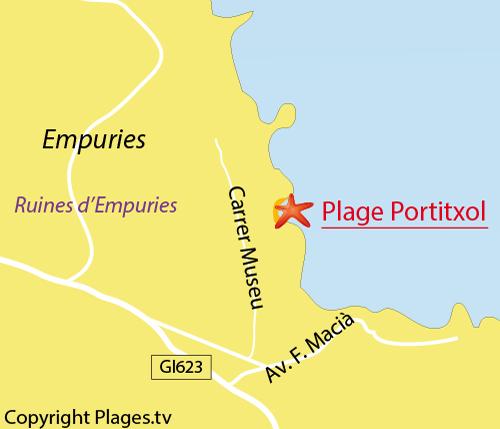Carte de la plage de Portitxol à l'Escala - Espagne