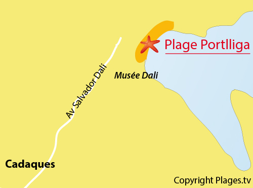 Map of Portlligat Beach in Cadaques