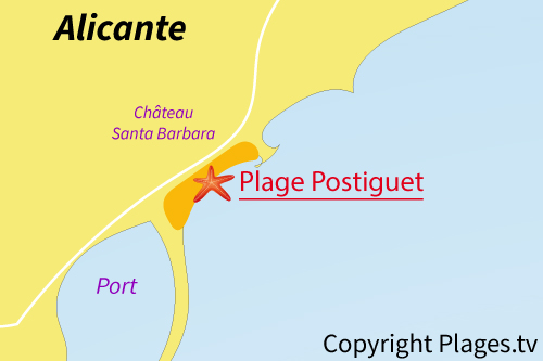 Carte de la plage de Postiguet à Alicante