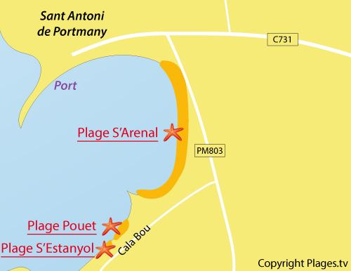 Map of Pouet Beach in Sant Antoni - Ibiza