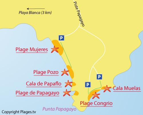 Carte de la plage de Pozo à Playa Blanca - Lanzarote