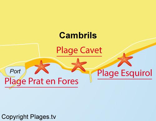 Carte de la plage de Prat d'en Fores - Escala