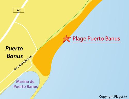 Carte de la plage de Puerto Banus en Espagne