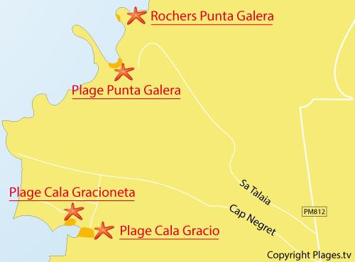 Map of Punta Galera Beach - Ibiza