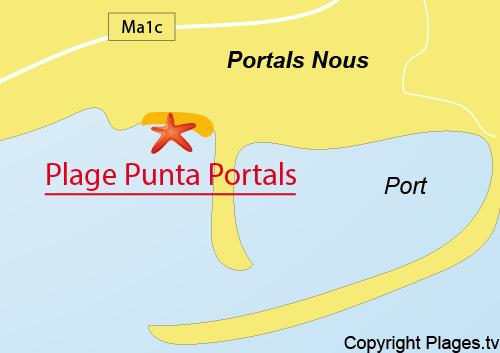 Carte de la plage de Punta Portals - Majorque