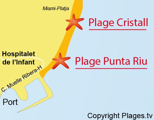 Carte de la plage de la Punta Riu - l'Hospitalet de l'Infant