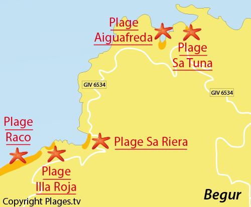 Carte de la plage du Raco à Begur - Espagne