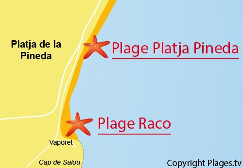 Carte de la plage de Raco à Playa de la Pineda - Salou