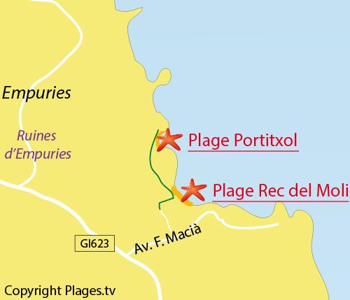 Carte de la plage de Rec del Moli à l'Escala