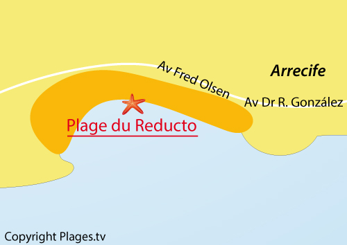 Map of Reducto Beach in Arrecife - Canary island