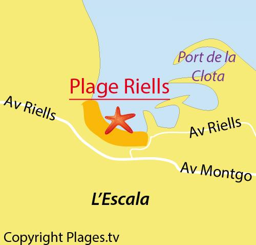 Carte de la plage de Riells à l'Escala