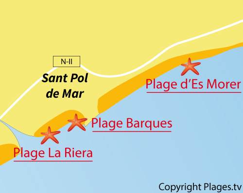Carte de la plage de La Riera à Sant Pol de Mar