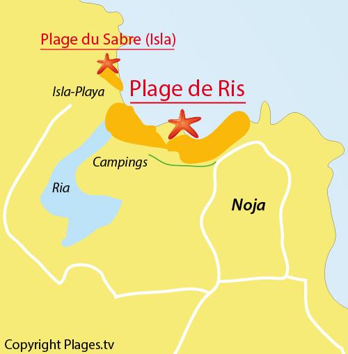 Carte de la plage de Ris à Noja - Espagne