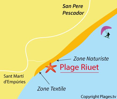 Carte de la plage du Riuet à Sant Pere Pescador en Espagne