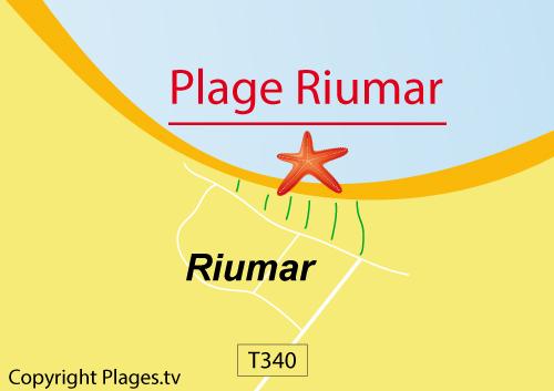 Carte de la plage de Riumar en Espagne