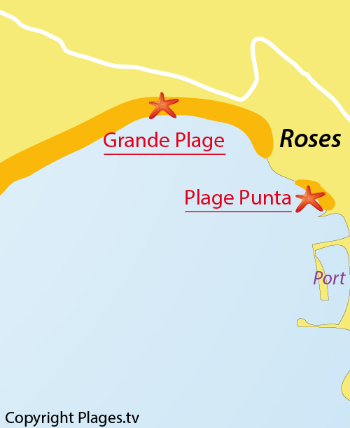 Carte de la plage de Roses en Espagne