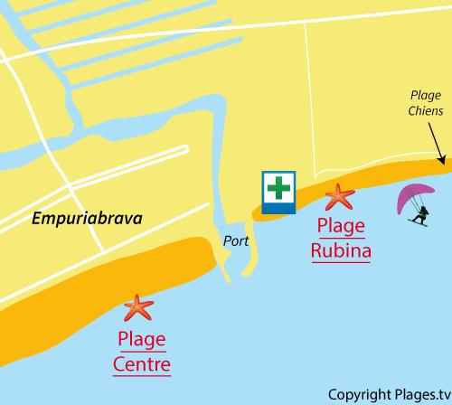 Carte de la plage de la Rubina à Empuriabrava