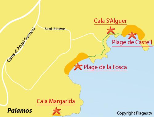 Carte de la plage de S'Alguer à Palamos