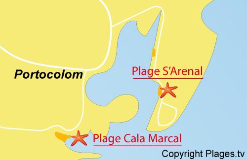 Carte de la plage S'Arenal à Portocolom - Majorque