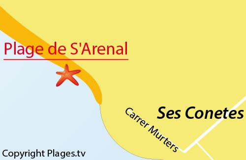 Carte de la plage s'Arenal à Ses Covetes - Majorque