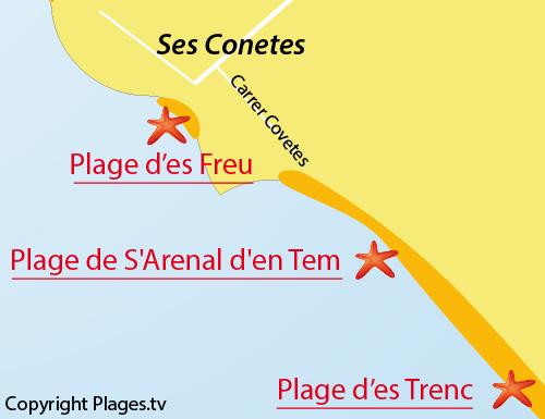 Carte de la plage s'Arenal d'en Tem - Ses Covetes - Majorque