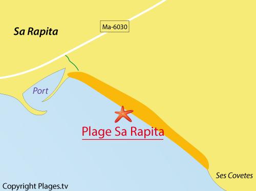 Carte de la plage de Sa Rapita à Majorque - Baléares