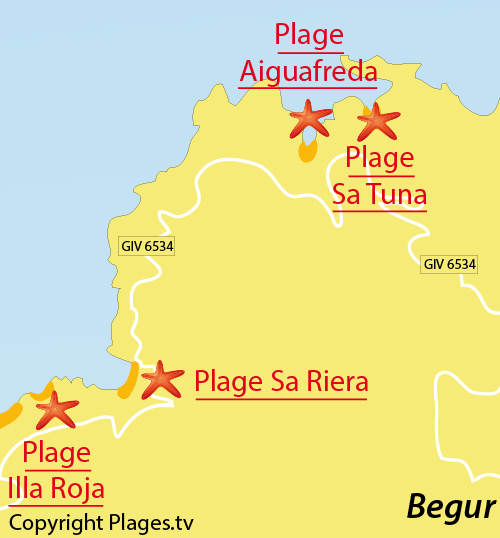 Map of Sa Riera Cove in Begur