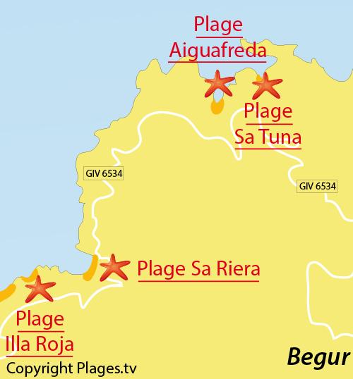 Carte de la plage de Sa Riera à Begur