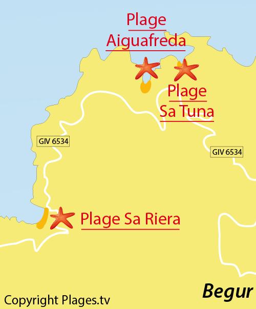 Carte de la plage de Sa Tuna à Begur - Espagne