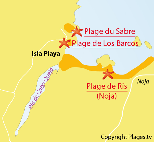 Carte de la plage du Sabre à Isla