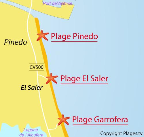 Carte de la plage de Saler en Espagne